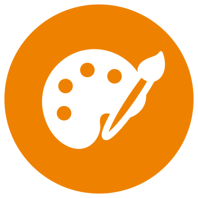 Orange icon showing paintbrush and palette