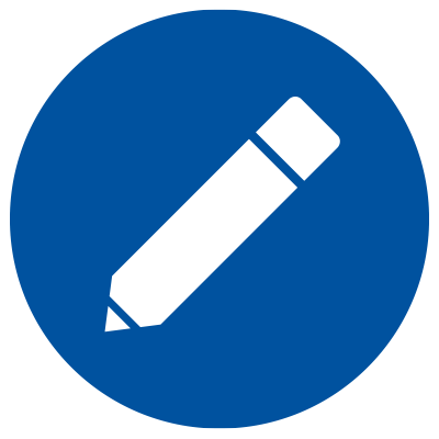 Blue icon showing pencil