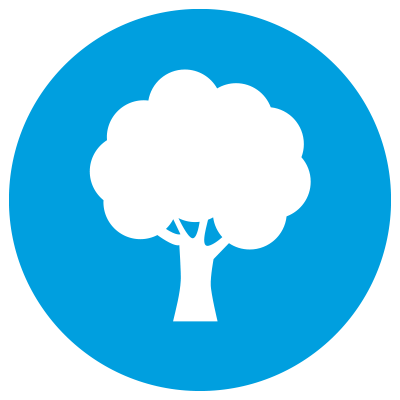Blue icon showing tree